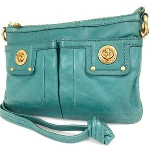 MARC BY MARC JACOBS 3 way teal & gold Leather bag